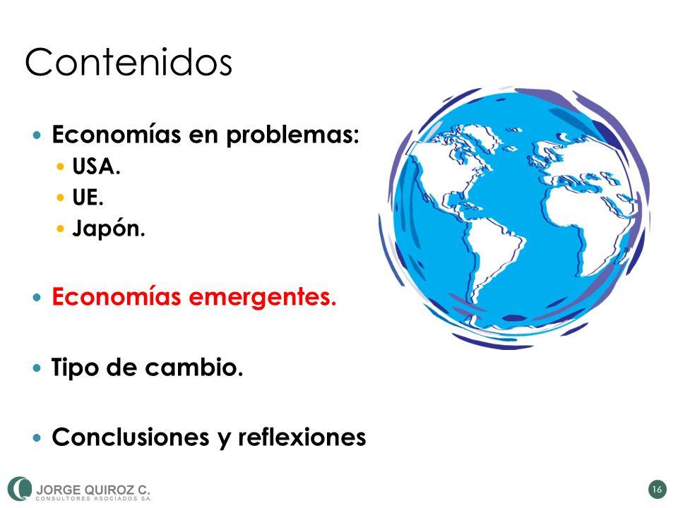 Contenidos Economías en problemas: USA. UE. Japón. Economías emergentes. Tipo de cambio. Conclusiones y reflexiones 16