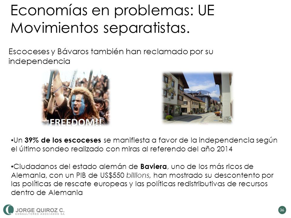 Economías en problemas: UE Movimientos separatistas.