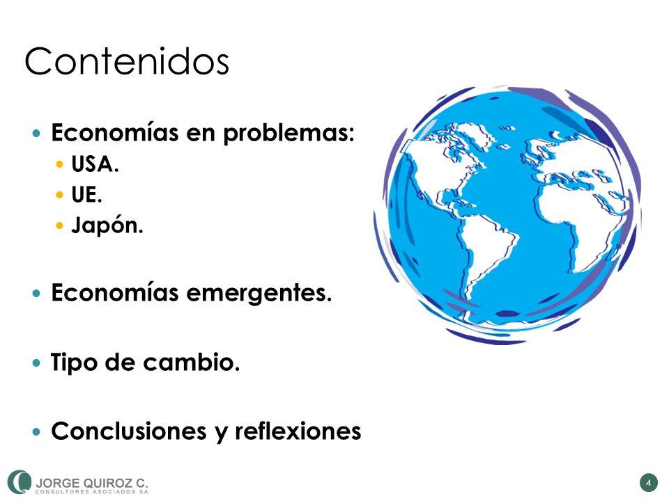 Contenidos Economías en problemas: USA. UE. Japón. Economías emergentes. Tipo de cambio. Conclusiones y reflexiones 4