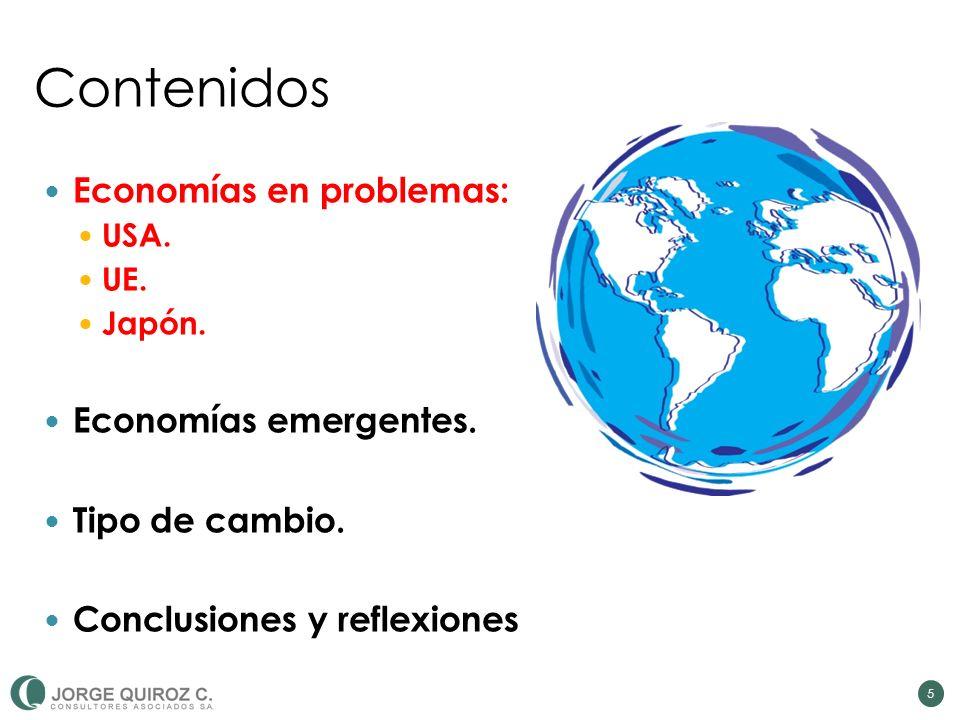 Contenidos Economías en problemas: USA. UE. Japón. Economías emergentes. Tipo de cambio. Conclusiones y reflexiones 5