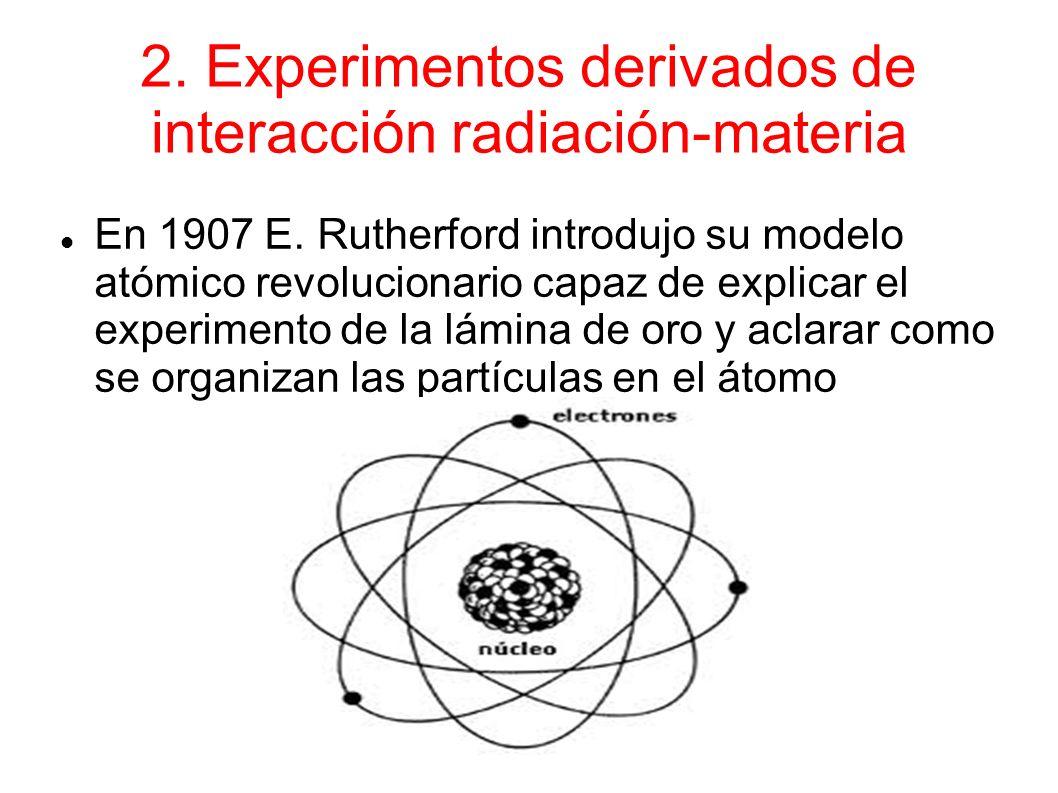 2.Experimentos derivados de interacción radiación-materia En 1907 E.