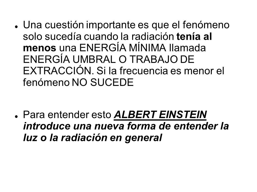 Una cuestión importante es que el fenómeno solo sucedía cuando la radiación tenía al menos una ENERGÍA MÍNIMA llamada ENERGÍA UMBRAL O TRABAJO DE EXTRACCIÓN.