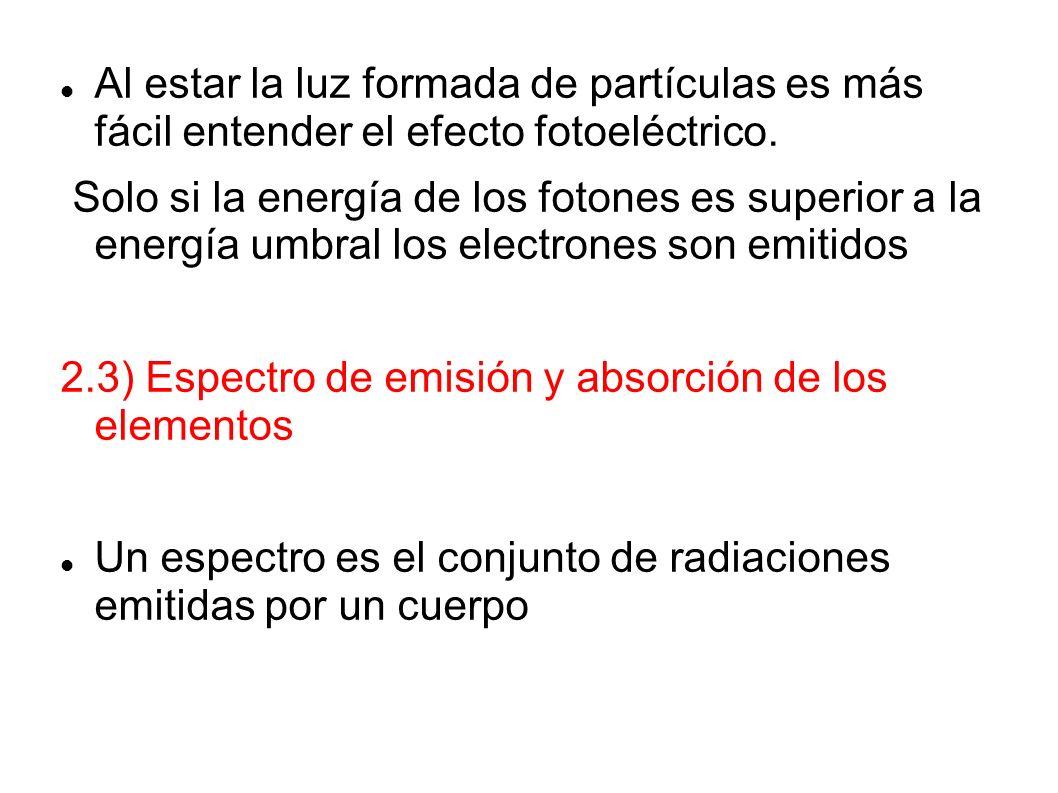 Al estar la luz formada de partículas es más fácil entender el efecto fotoeléctrico.