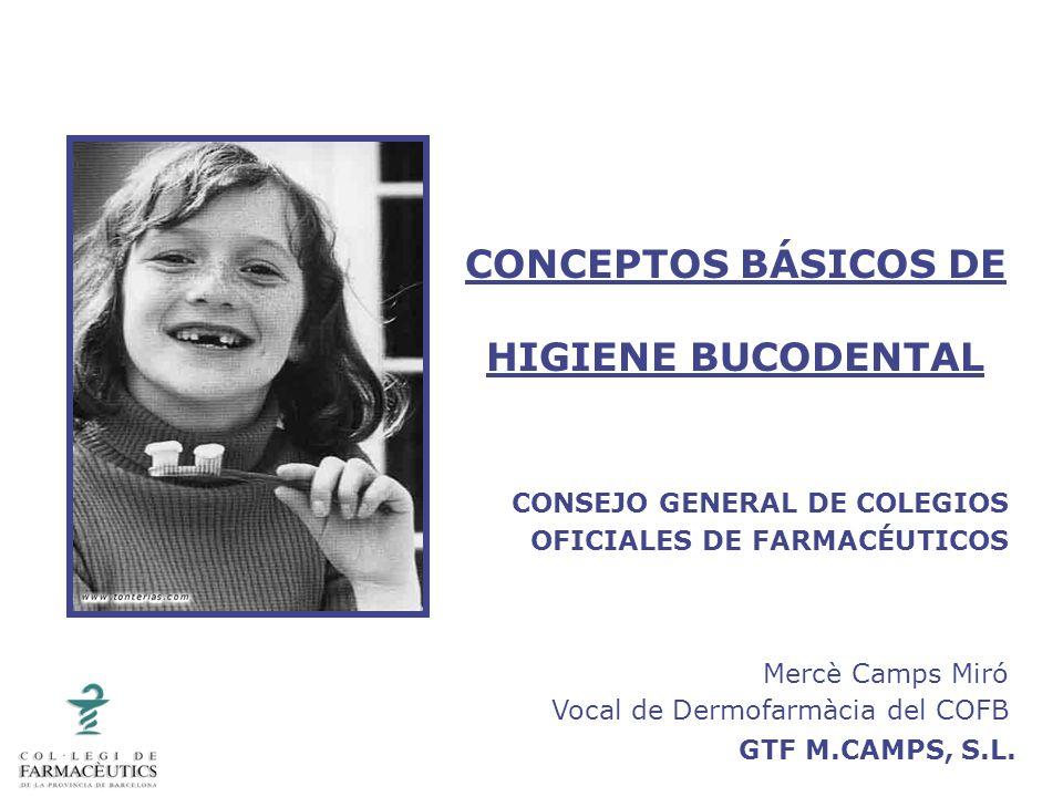 GTF M.CAMPS, S.L. CONCEPTOS BÁSICOS DE HIGIENE BUCODENTAL CONSEJO GENERAL DE COLEGIOS OFICIALES DE FARMACÉUTICOS Mercè Camps Miró Vocal de Dermofarmàc