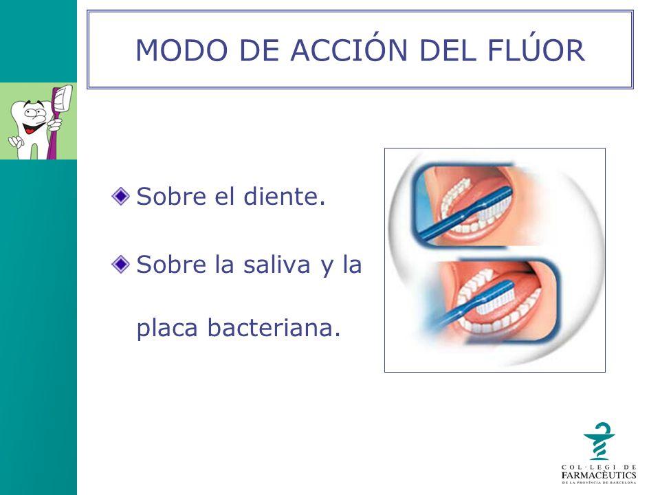 Sobre el diente. Sobre la saliva y la placa bacteriana. MODO DE ACCIÓN DEL FLÚOR