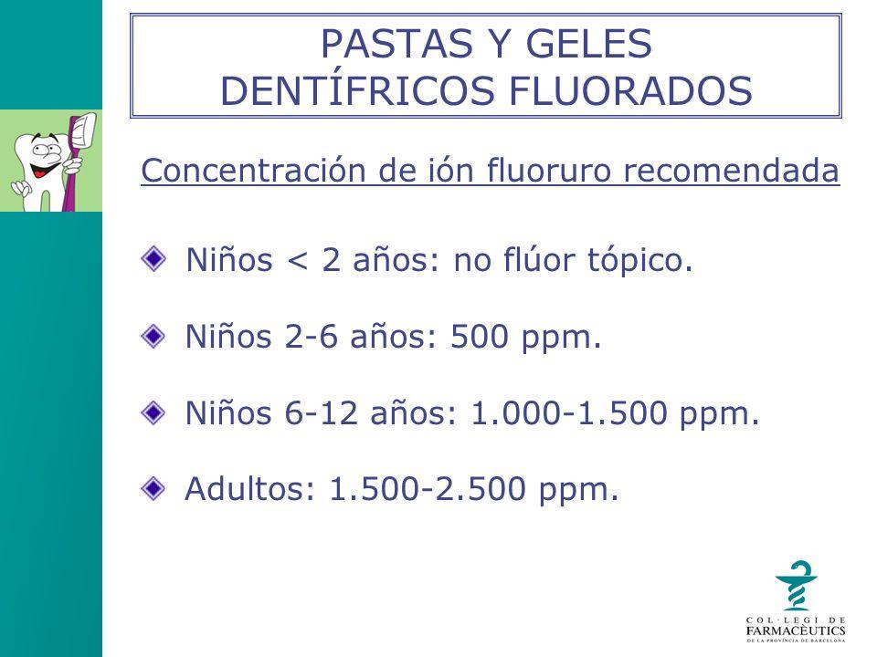 PASTAS Y GELES DENTÍFRICOS FLUORADOS Concentración de ión fluoruro recomendada Niños < 2 años: no flúor tópico. Niños 2-6 años: 500 ppm. Niños 6-12 añ