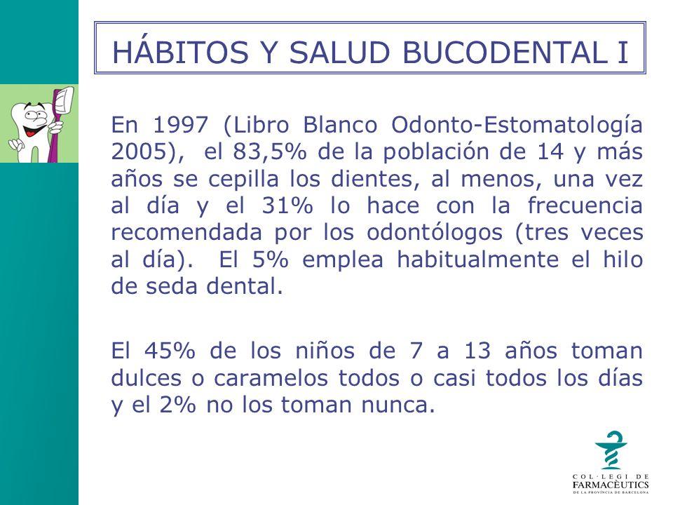 En 1997 (Libro Blanco Odonto-Estomatología 2005), el 83,5% de la población de 14 y más años se cepilla los dientes, al menos, una vez al día y el 31%