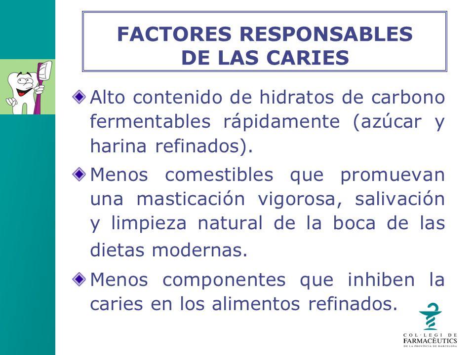 Alto contenido de hidratos de carbono fermentables rápidamente (azúcar y harina refinados). Menos comestibles que promuevan una masticación vigorosa,