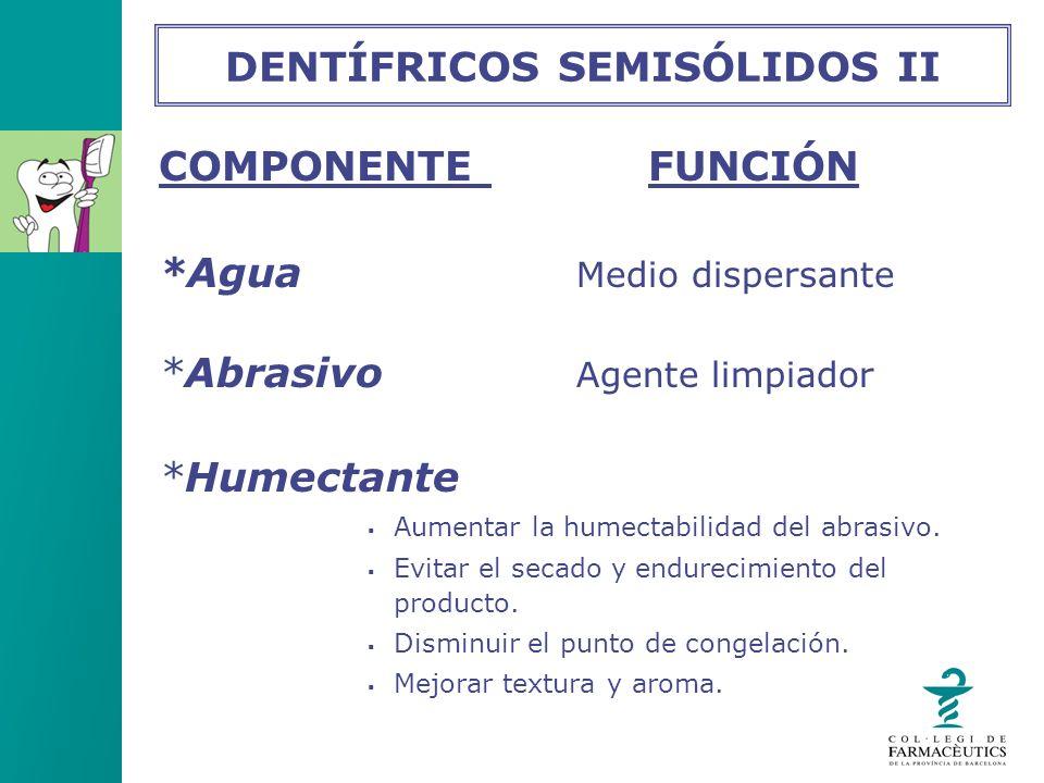 COMPONENTE FUNCIÓN *Agua Medio dispersante *Abrasivo Agente limpiador *Humectante Aumentar la humectabilidad del abrasivo. Evitar el secado y endureci