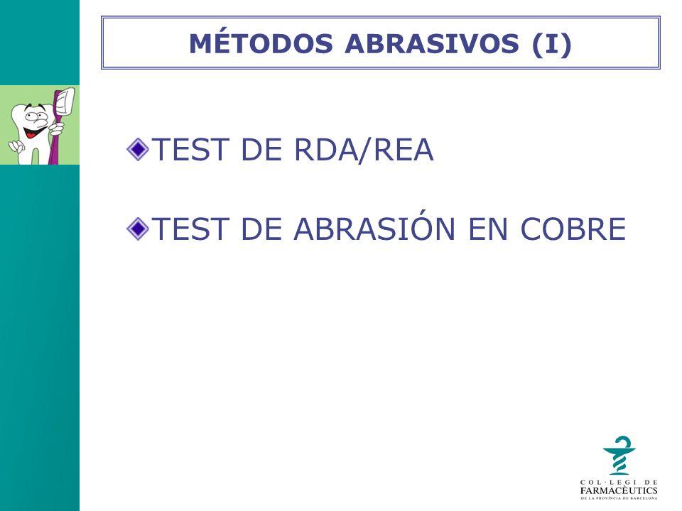 TEST DE RDA/REA TEST DE ABRASIÓN EN COBRE MÉTODOS ABRASIVOS (I)