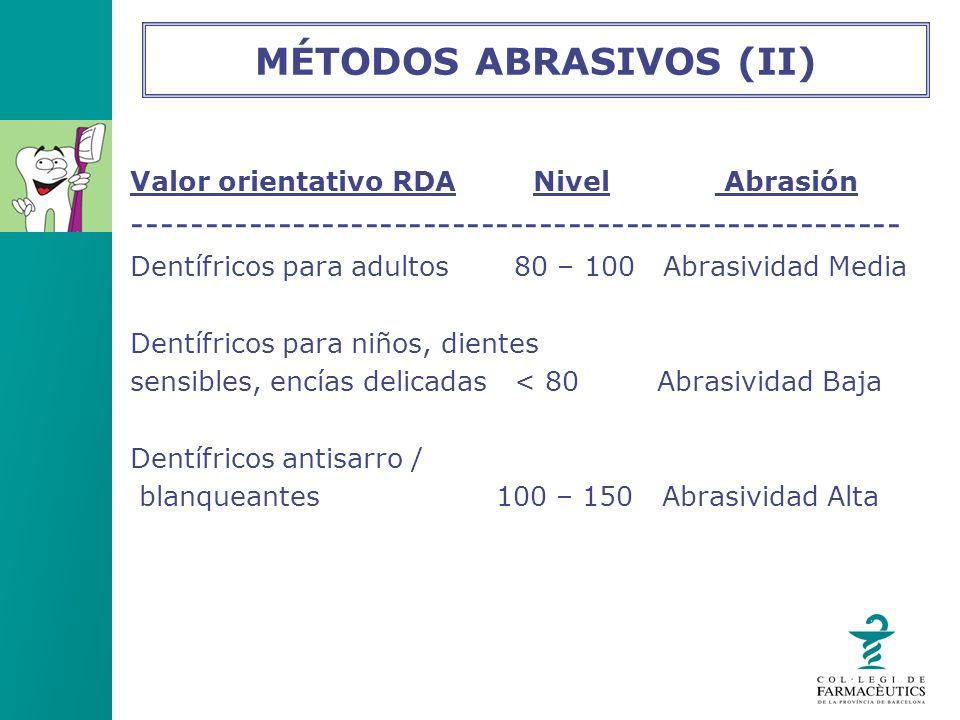 Valor orientativo RDA Nivel Abrasión ----------------------------------------------------- Dentífricos para adultos 80 – 100 Abrasividad Media Dentífr