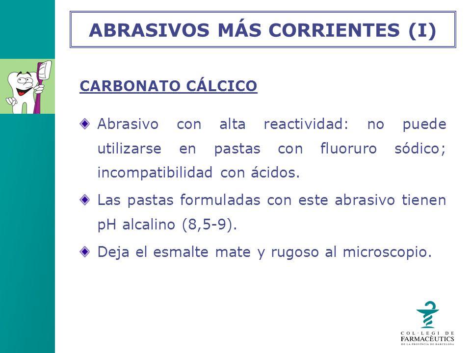 CARBONATO CÁLCICO Abrasivo con alta reactividad: no puede utilizarse en pastas con fluoruro sódico; incompatibilidad con ácidos. Las pastas formuladas
