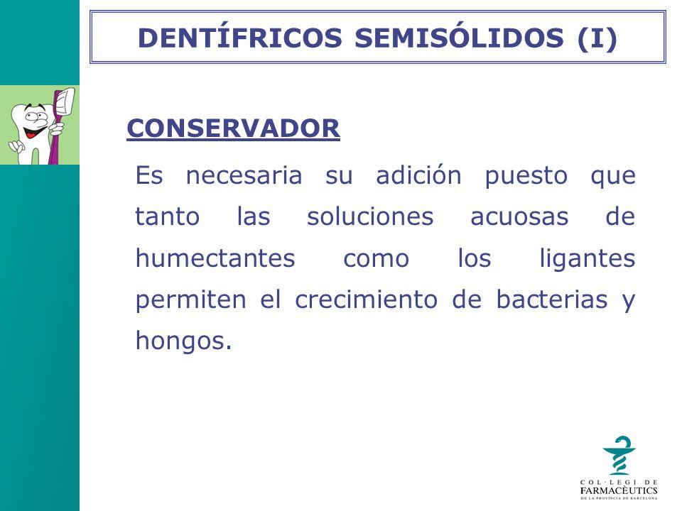 CONSERVADOR Es necesaria su adición puesto que tanto las soluciones acuosas de humectantes como los ligantes permiten el crecimiento de bacterias y ho