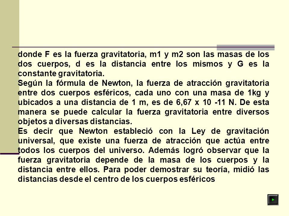 donde F es la fuerza gravitatoria, m1 y m2 son las masas de los dos cuerpos, d es la distancia entre los mismos y G es la constante gravitatoria. Segú