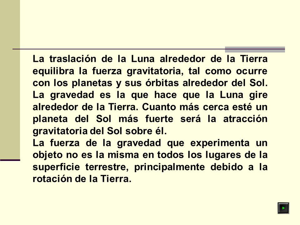 La traslación de la Luna alrededor de la Tierra equilibra la fuerza gravitatoria, tal como ocurre con los planetas y sus órbitas alrededor del Sol. La