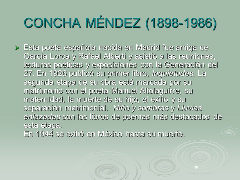 CONCHA MÉNDEZ (1898-1986) Esta poeta española nacida en Madrid fue amiga de García Lorca y Rafael Alberti y asistió a las reuniones, lecturas poéticas