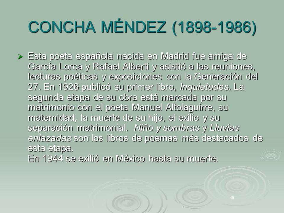 Concha Méndez Anécdota Concha Méndez era la mayor de once hermanos.