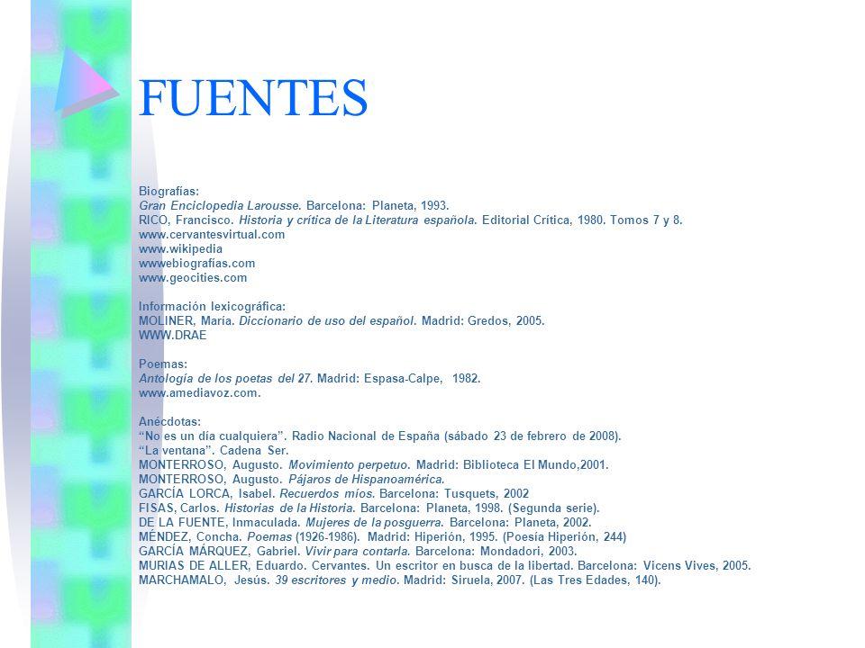FUENTES Biografías: Gran Enciclopedia Larousse. Barcelona: Planeta, 1993. RICO, Francisco. Historia y crítica de la Literatura española. Editorial Crí