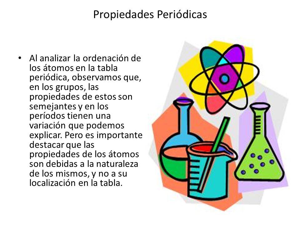 Propiedades Periódicas Dentro de un periodo, la energía o potencial de ionización aumenta de izquierda a derecha, por que los átomos colocados hacia la derecha en la tabla periódica tienen un mayor número de protones (Z) y un menor radio atómico que los colocados en el lado izquierdo.