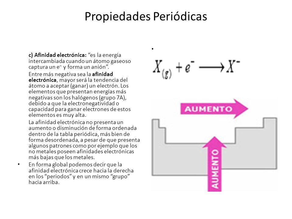 Propiedades Periódicas c) Afinidad electrónica: es la energía intercambiada cuando un átomo gaseoso captura un e – y forma un anión. Entre más negativ
