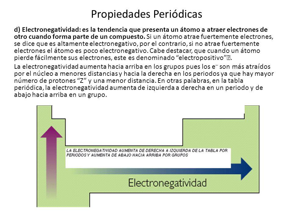 Propiedades Periódicas d) Electronegatividad: es la tendencia que presenta un átomo a atraer electrones de otro cuando forma parte de un compuesto. Si