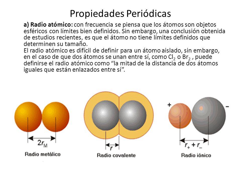 Propiedades Periódicas Pueden deducirse algunas tendencias de la variación del tamaño atómico en la tabla periódica: a) Descendiendo en un grupo, se produce un aumento del radio atómico debido a que aumenta el número de niveles ocupados por los electrones; por ejemplo, los elementos que pertenecen al grupo 1 de la tabla periódica, tienen un electrón en su última órbita de energía; el sodio (Na) y el potasio (K) pertenecen a este grupo.