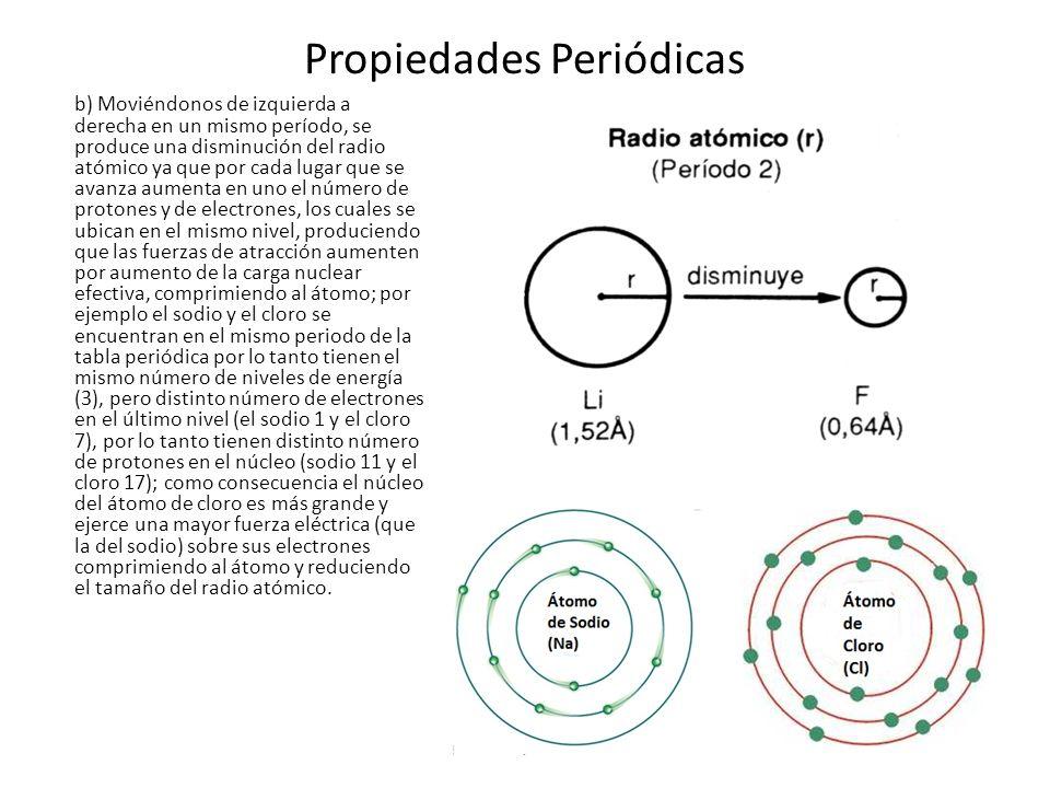 Propiedades Periódicas b) Moviéndonos de izquierda a derecha en un mismo período, se produce una disminución del radio atómico ya que por cada lugar q