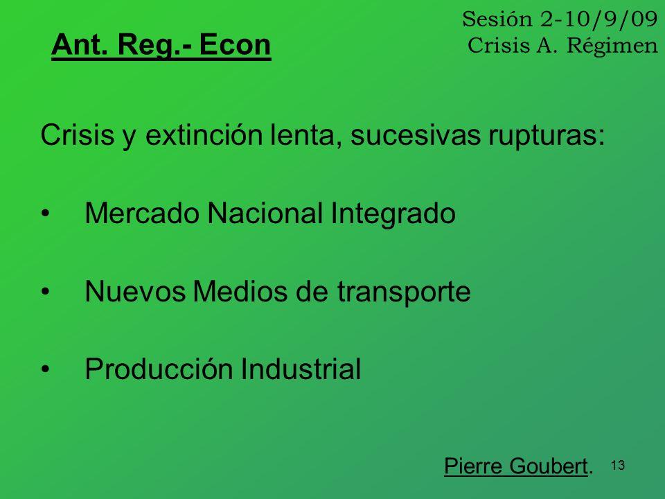 13 Sesión 2-10/9/09 Crisis A. Régimen Ant. Reg.- Econ Crisis y extinción lenta, sucesivas rupturas: Mercado Nacional Integrado Nuevos Medios de transp