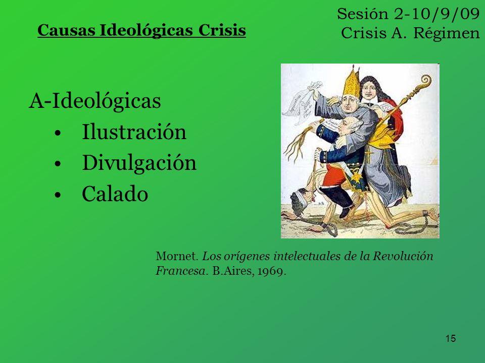 15 Sesión 2-10/9/09 Crisis A. Régimen Causas Ideológicas Crisis A-Ideológicas Ilustración Divulgación Calado Mornet. Los orígenes intelectuales de la