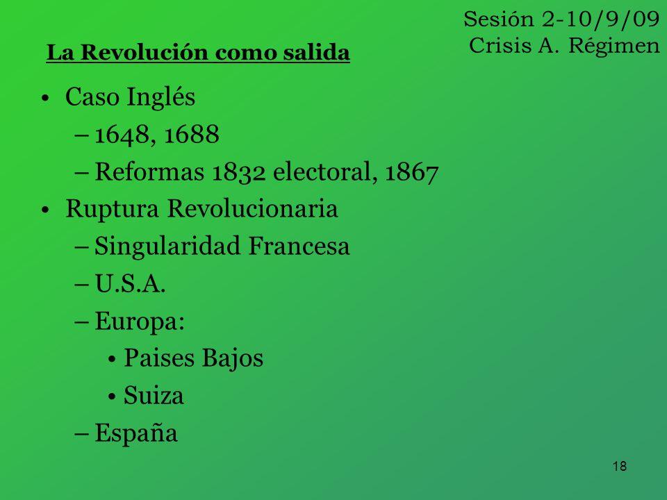 18 Caso Inglés –1648, 1688 –Reformas 1832 electoral, 1867 Ruptura Revolucionaria –Singularidad Francesa –U.S.A. –Europa: Paises Bajos Suiza –España La