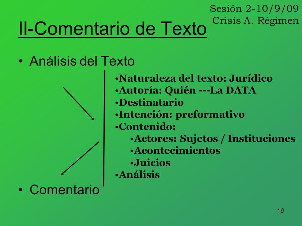 19 II-Comentario de Texto Análisis del Texto Comentario Naturaleza del texto: Jurídico Autoría: Quién ---La DATA Destinatario Intención: preformativo