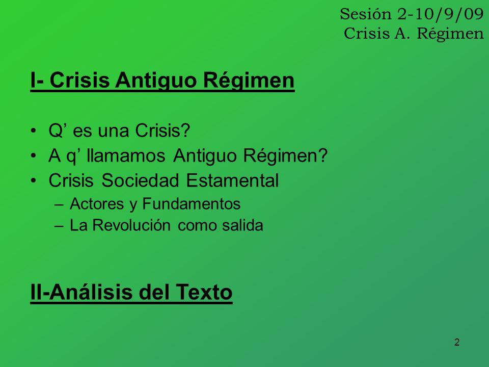 2 Sesión 2-10/9/09 Crisis A. Régimen Q es una Crisis? A q llamamos Antiguo Régimen? Crisis Sociedad Estamental –Actores y Fundamentos –La Revolución c