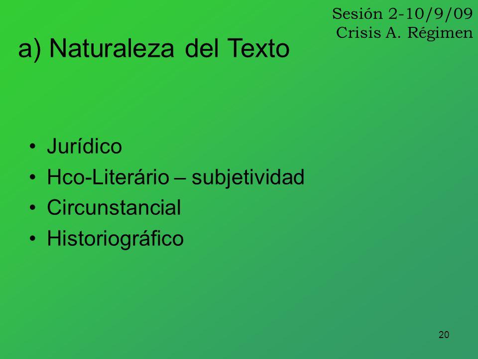 20 Jurídico Hco-Literário – subjetividad Circunstancial Historiográfico a) Naturaleza del Texto Sesión 2-10/9/09 Crisis A. Régimen