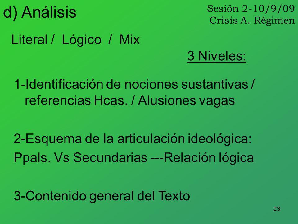 23 Literal / Lógico / Mix d) Análisis 1-Identificación de nociones sustantivas / referencias Hcas. / Alusiones vagas 2-Esquema de la articulación ideo