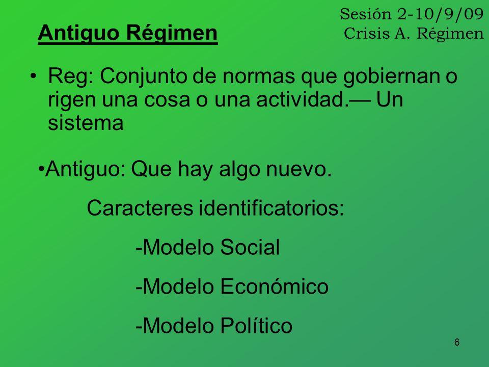6 Sesión 2-10/9/09 Crisis A. Régimen Reg: Conjunto de normas que gobiernan o rigen una cosa o una actividad. Un sistema Antiguo Régimen Antiguo: Que h