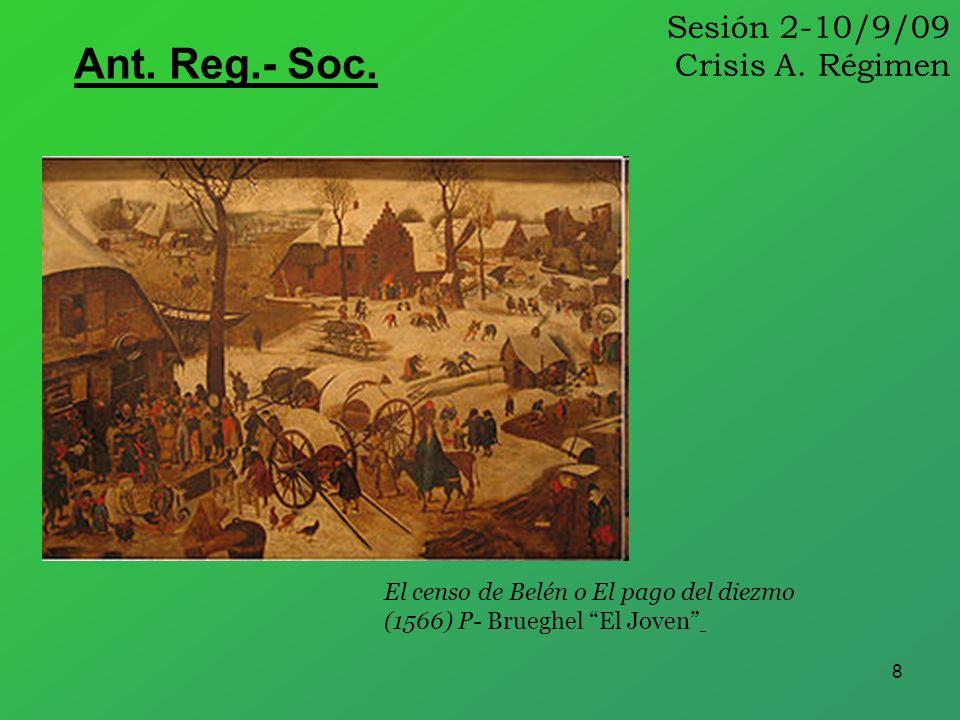 8 Sesión 2-10/9/09 Crisis A. Régimen Ant. Reg.- Soc. El censo de Belén o El pago del diezmo (1566) P- Brueghel El Joven