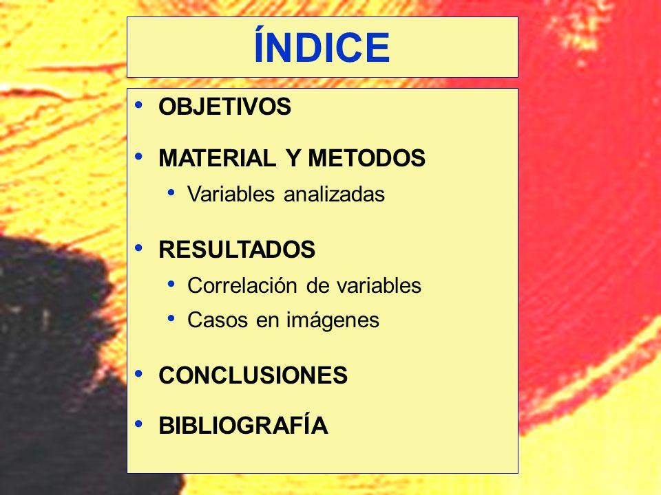 OBJETIVOS MATERIAL Y METODOS Variables analizadas RESULTADOS Correlación de variables Casos en imágenes CONCLUSIONES BIBLIOGRAFÍA ÍNDICE
