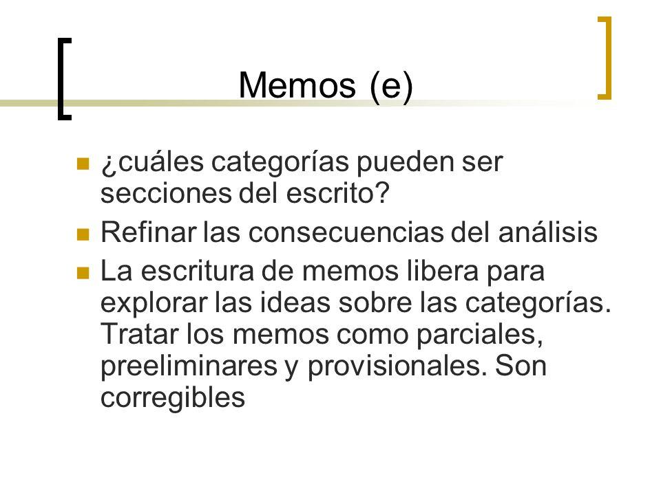 Memos (e) ¿cuáles categorías pueden ser secciones del escrito? Refinar las consecuencias del análisis La escritura de memos libera para explorar las i