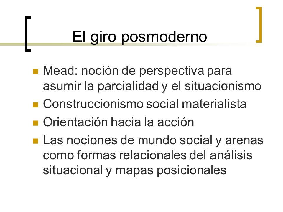 El giro posmoderno Mead: noción de perspectiva para asumir la parcialidad y el situacionismo Construccionismo social materialista Orientación hacia la