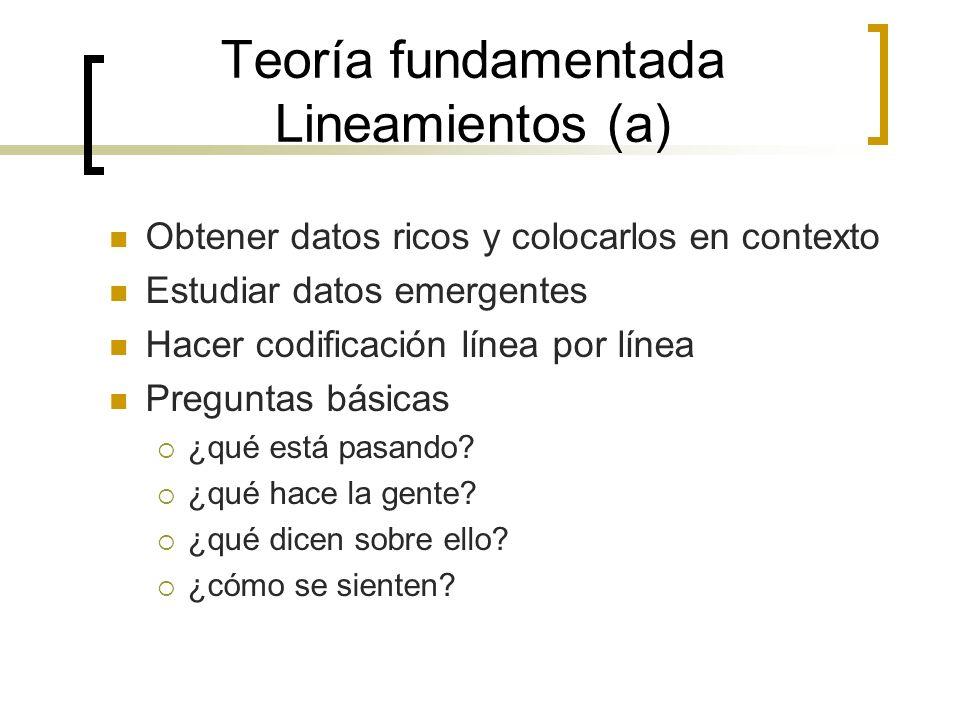 Teoría fundamentada Lineamientos (a) Obtener datos ricos y colocarlos en contexto Estudiar datos emergentes Hacer codificación línea por línea Pregunt