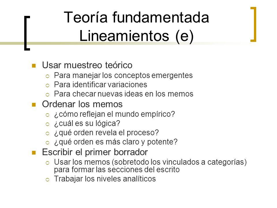 Teoría fundamentada Lineamientos (e) Usar muestreo teórico Para manejar los conceptos emergentes Para identificar variaciones Para checar nuevas ideas