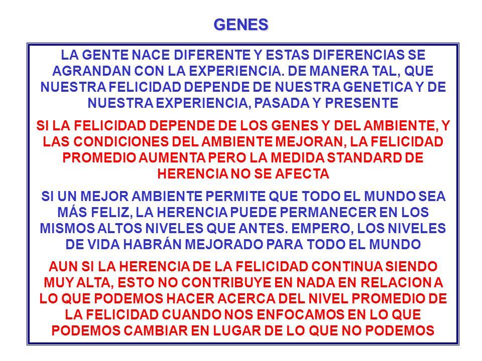 LA GENTE NACE DIFERENTE Y ESTAS DIFERENCIAS SE AGRANDAN CON LA EXPERIENCIA. DE MANERA TAL, QUE NUESTRA FELICIDAD DEPENDE DE NUESTRA GENETICA Y DE NUES