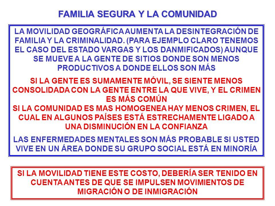 LA MOVILIDAD GEOGRÁFICA AUMENTA LA DESINTEGRACIÓN DE FAMILIA Y LA CRIMINALIDAD. (PARA EJEMPLO CLARO TENEMOS EL CASO DEL ESTADO VARGAS Y LOS DANMIFICAD