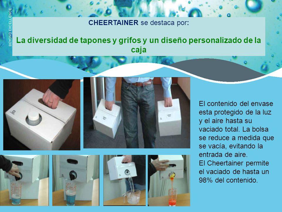 CHEERTAINER se destaca por: La diversidad de tapones y grifos y un diseño personalizado de la caja El contenido del envase esta protegido de la luz y el aire hasta su vaciado total.