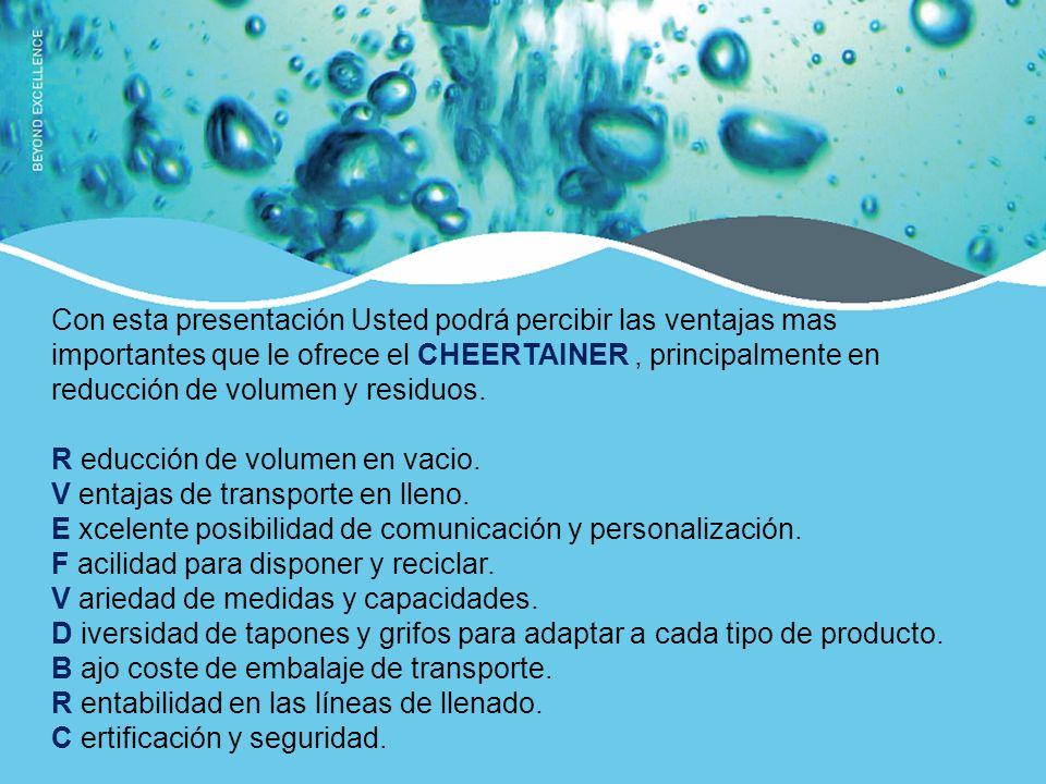 Con esta presentación Usted podrá percibir las ventajas mas importantes que le ofrece el CHEERTAINER, principalmente en reducción de volumen y residuos.