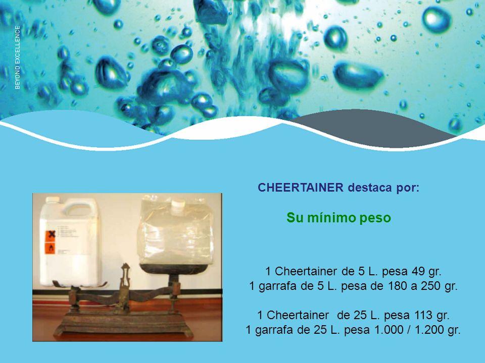 1 Cheertainer de 5 L.pesa 49 gr. 1 garrafa de 5 L.