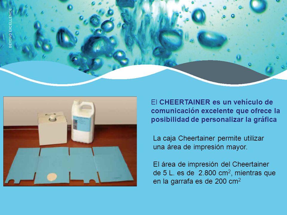 El CHEERTAINER optimiza con mayor ventaja el desecho y reciclado Este es el volumen de desecho de 160 unidades de ambos envases.