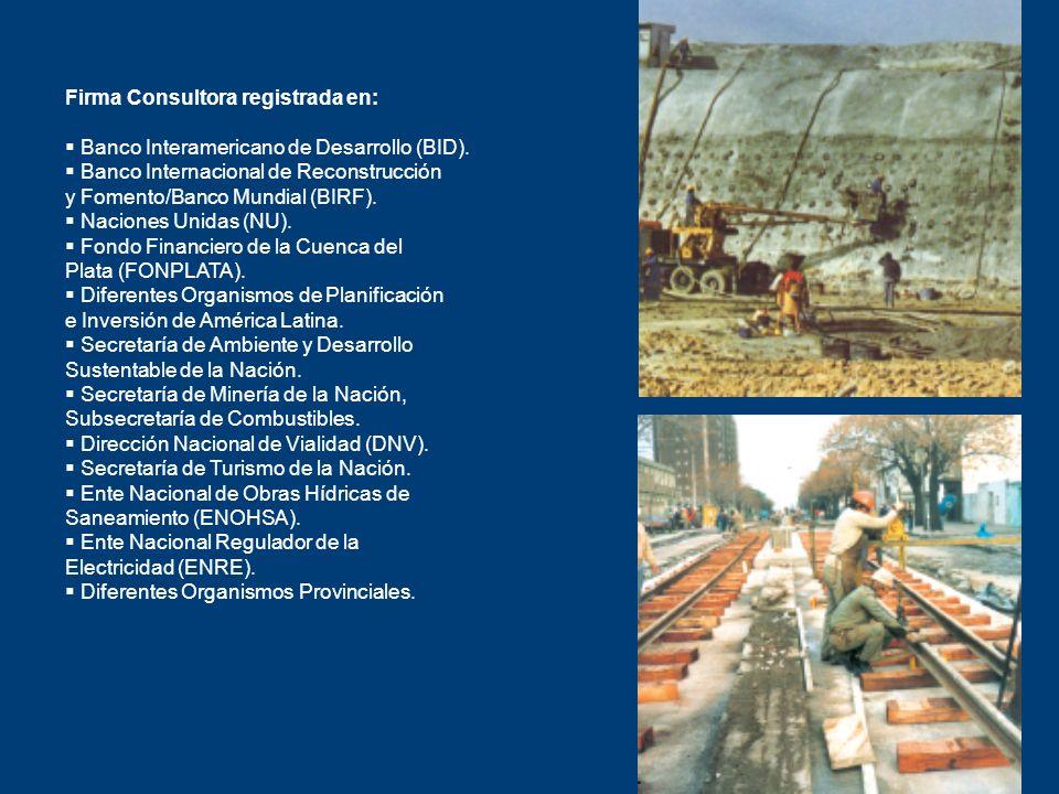 Firma Consultora registrada en: Banco Interamericano de Desarrollo (BID). Banco Internacional de Reconstrucción y Fomento/Banco Mundial (BIRF). Nacion