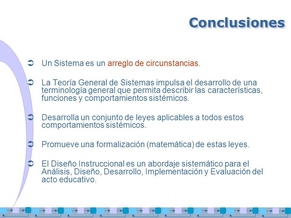 ConclusionesConclusiones Un Sistema es un arreglo de circunstancias. La Teoría General de Sistemas impulsa el desarrollo de una terminología general q