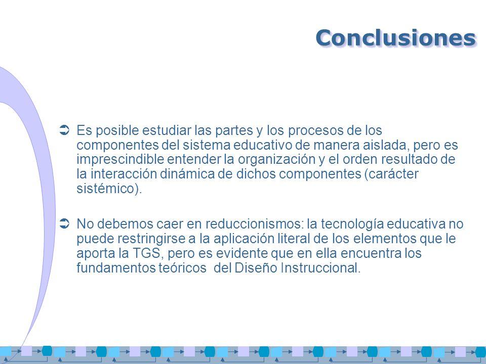ConclusionesConclusiones Es posible estudiar las partes y los procesos de los componentes del sistema educativo de manera aislada, pero es imprescindi
